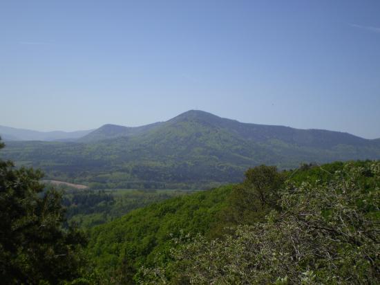 Rocher du Coucou, Val d'Argent à gauche, Val de Villé à droite.